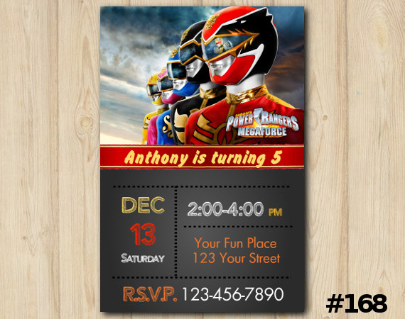 power ranger invitation personalized digital card