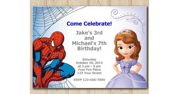twin spiderman and sofia the first invitation