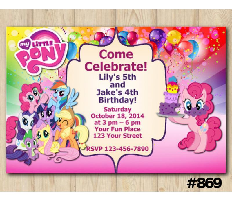 twin my little pony invitation personalized digital card