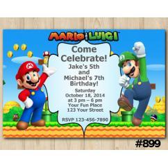 twin super mario and luigi invitation personalized digital card