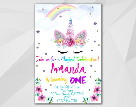 unicorn invitation personalized digital card