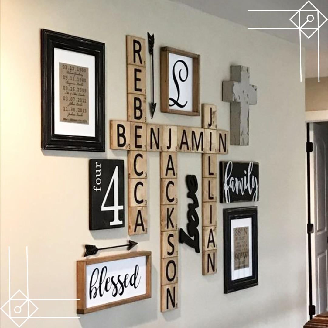 DIY Farmhouse Scrabble Wall Art Decorating Ideas