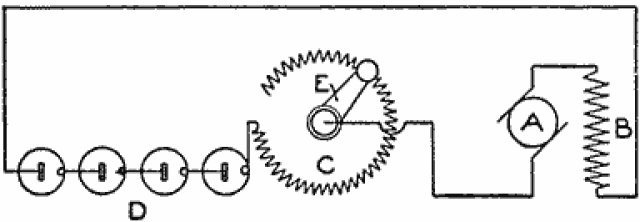 Diagram Showing the Connections for a Small Motor Where a Rheostat Is in the Line (Fig. 1)