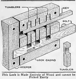 Wooden Lock with Combination Key - The lock shown in the sketch and detailed drawings is made entirely of wood, and it is nearly impossible to pick or open it without the use of the key.
