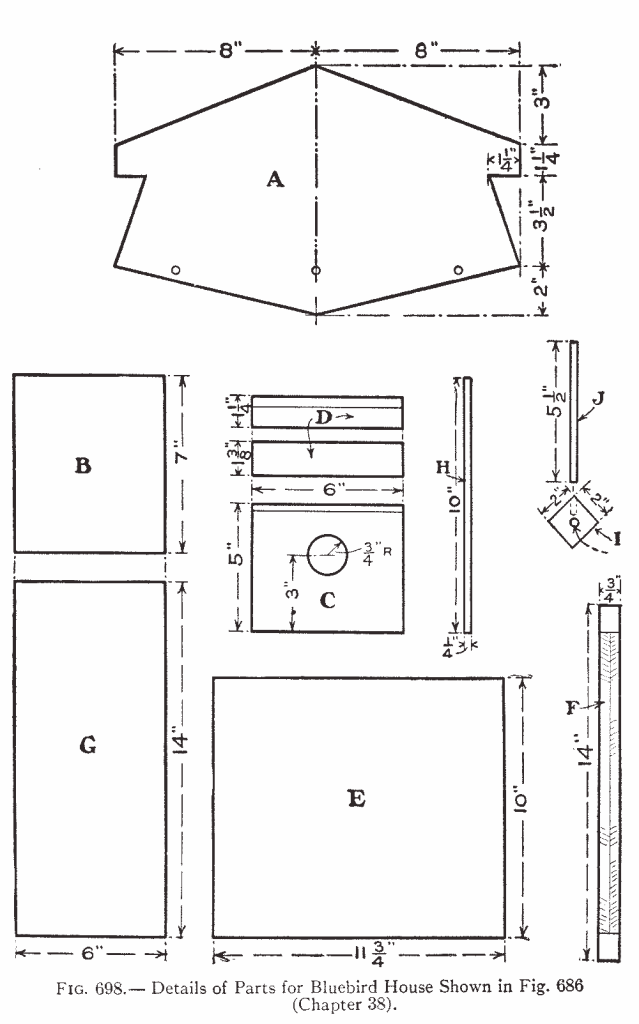 Fig. 698.— Details of Parts for Bluebird House Shown in Fig. 686 (Chapter 38).