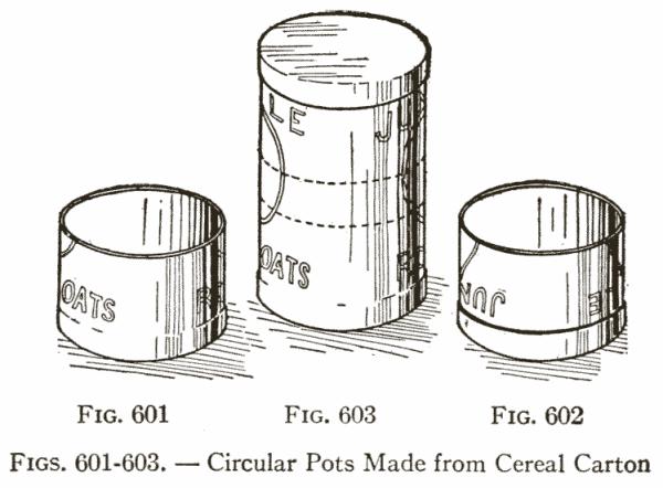 Figs. 601-603. — Circular Pots Made from Cereal Carton