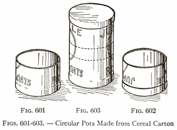 Figs. 601-603. — Circular Pots Made from Cereal Carton