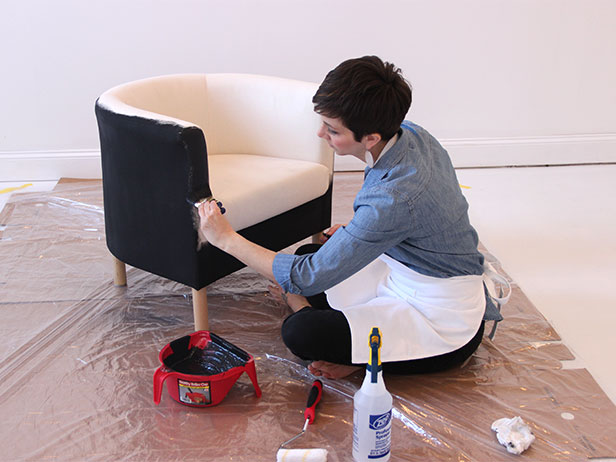 old ikea chair covers walmart lounge how to paint a fabric tos diy step 6