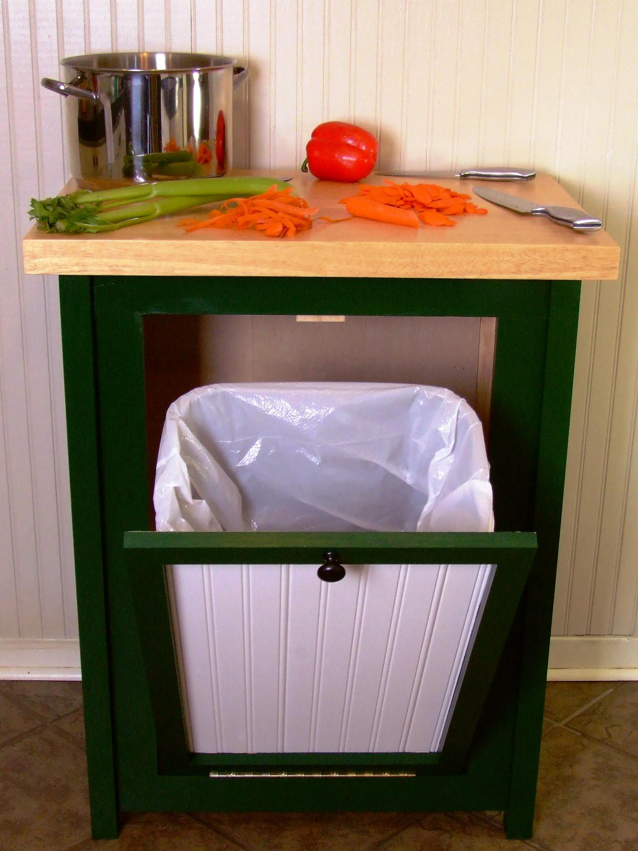 hide away trash bin kitchen buffet storage cabinet how to build a with butcher block countertop