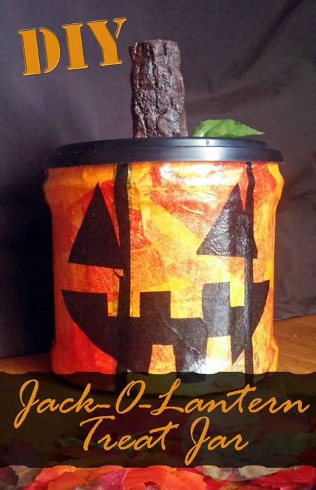 Celebrate Autumn with this fun and functional DIY Jack-O-Lantern treat jar!
