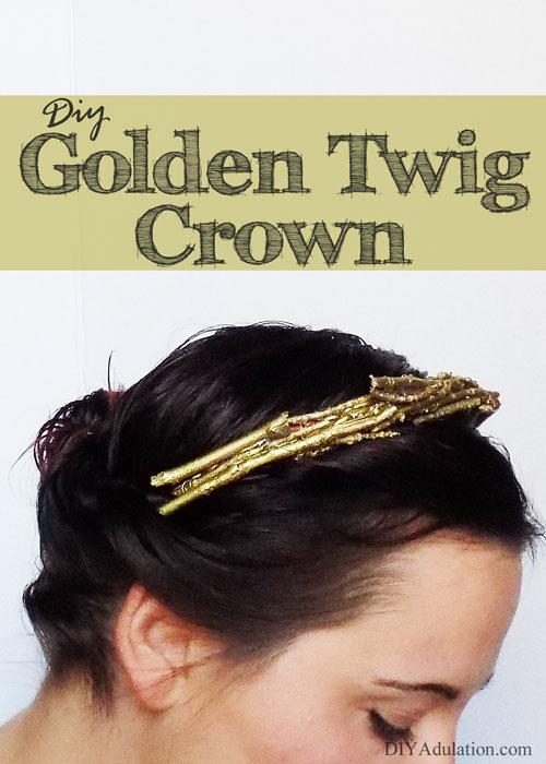 DIY Golden Twig Crown