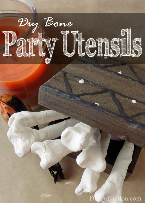 You've been learning all about how to DIY your Halloween party. Let's get onto more party planning with these DIY bone party utensils (+ a free party planner)!