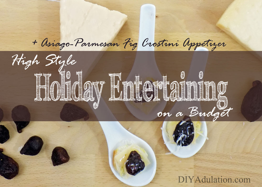 Asiago-Parmesan fig crostini appetizers are a perfect mix of savory and sweet. This year wow your guests with high style holiday entertaining on a budget! #ad #StellaCheeses #QualitySince1923