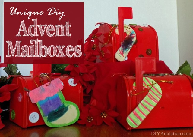 Do you love building up the excitement before Christmas? Advent calendars are a fantastic way to do this. I have also found that the small gifts that go along with advent calendars are a great way to allay kiddos anxiousness over the pretty packages under the tree. This year try something a little different with these unique DIY advent mailboxes! They are easy enough to make that a 2 year old can do it. Trust me, I have photographic proof.