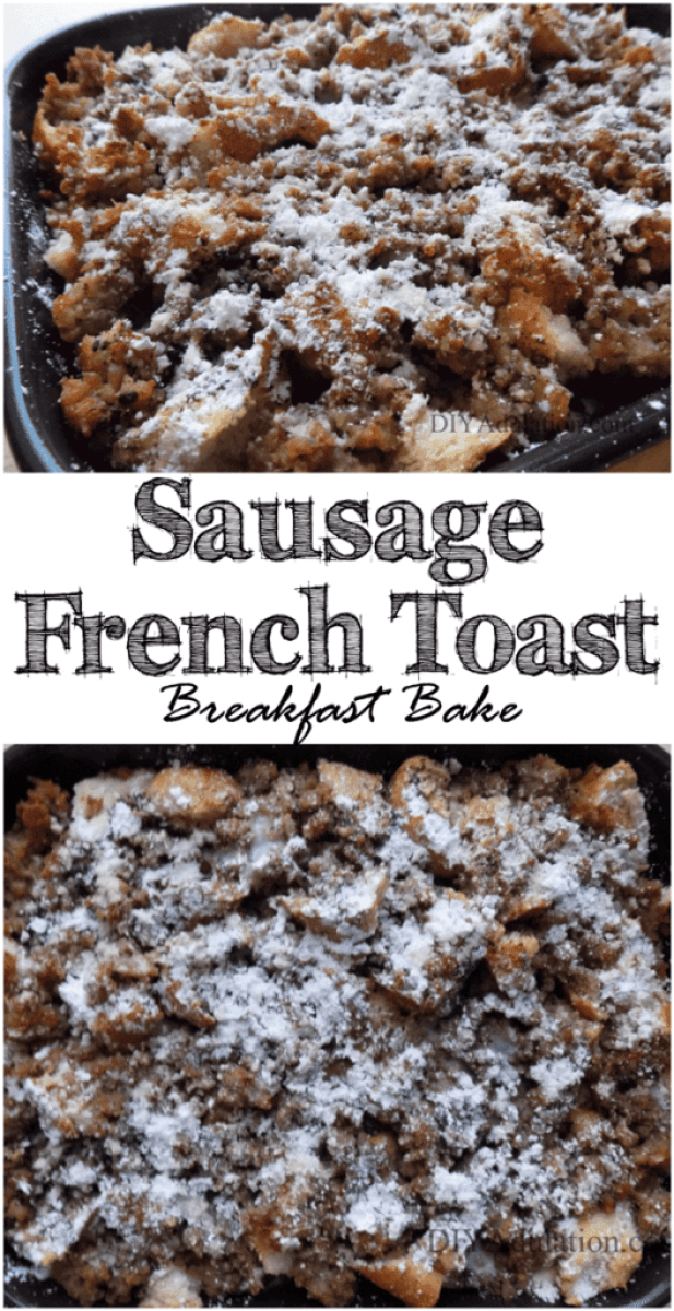 Spend less time in the kitchen and more time enjoying coffee in the morning with this sausage French toast breakfast casserole. | Freezer-Friendly