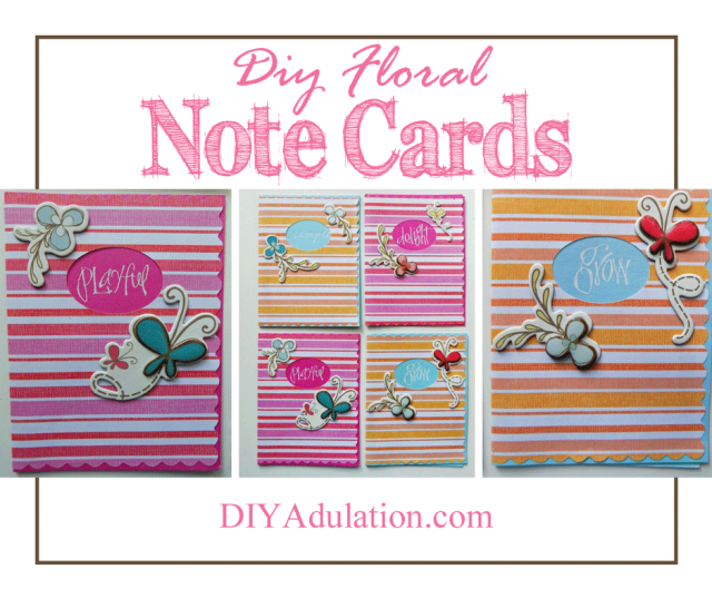 Striped Floral Note Cards with Text Overlay: DIY Floral Note Cards