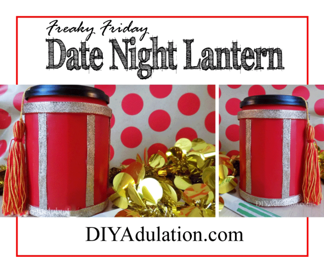 Collage of Chinese Lanterns with gold garland and polka dot background and text: Freaky Friday Date Night Lantern