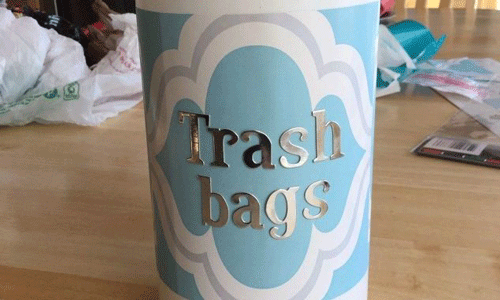 Blue Decorative Container with the words Trash Bags on it