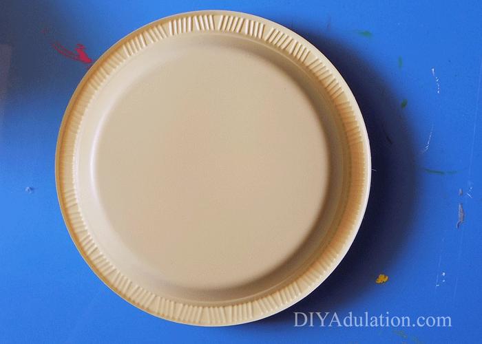 Bottom of plastic yellow plate