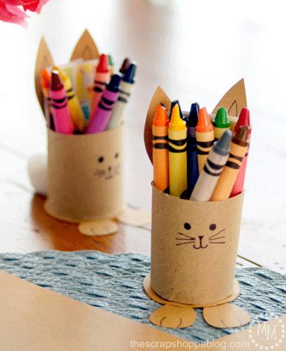 Cardboard bunnies with crayons inside