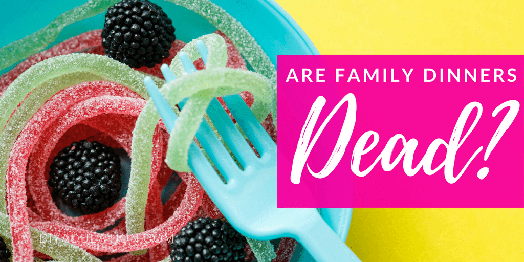 Fork twirling candy pasta with text overlay: Are Family Dinners Dead?