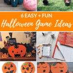 Collage of halloween games with text overlay - 6 Easy and Fun Halloween Game Ideas