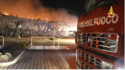 L'incendio dei pv Eurobrico e Unieuro