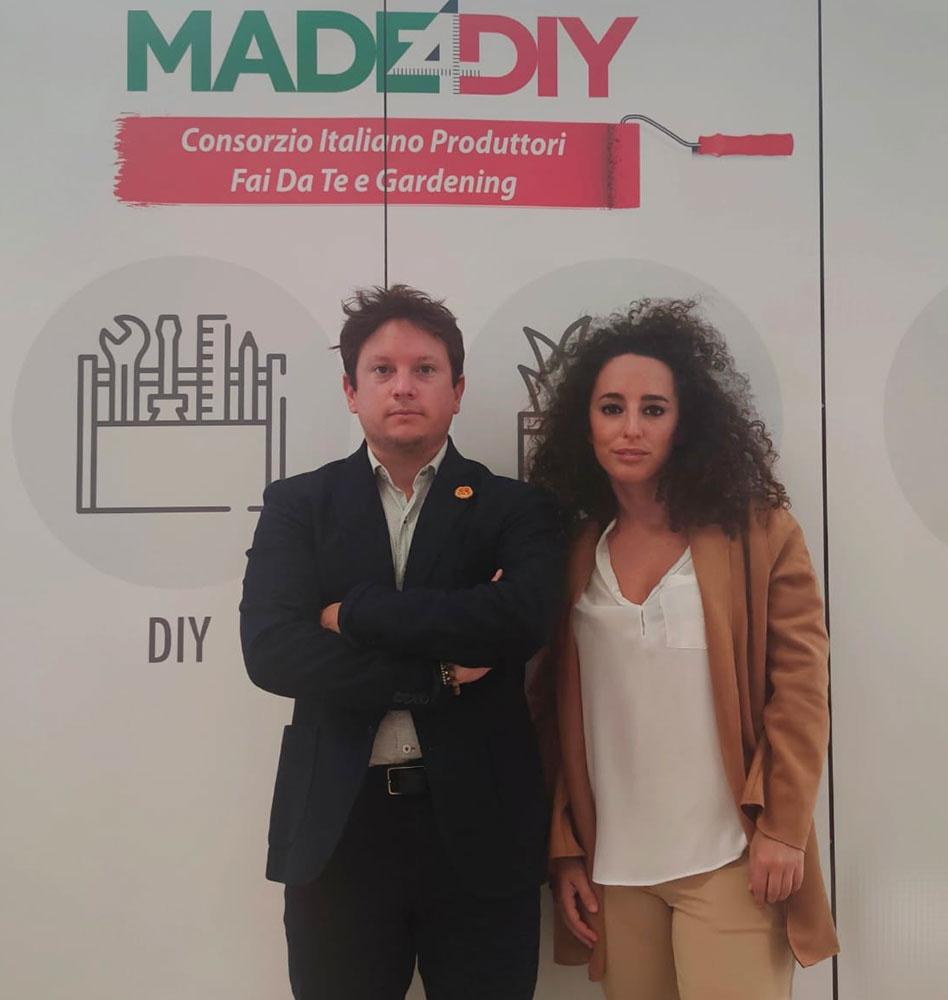 Luca Gaudenzi, marketing manager e Gloria Allegrucci, segreteria e comunicazione Consorzio Made4Diy