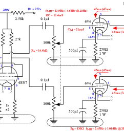 se ul 6v6 tube amplifier schematic showing both channels [ 1200 x 700 Pixel ]