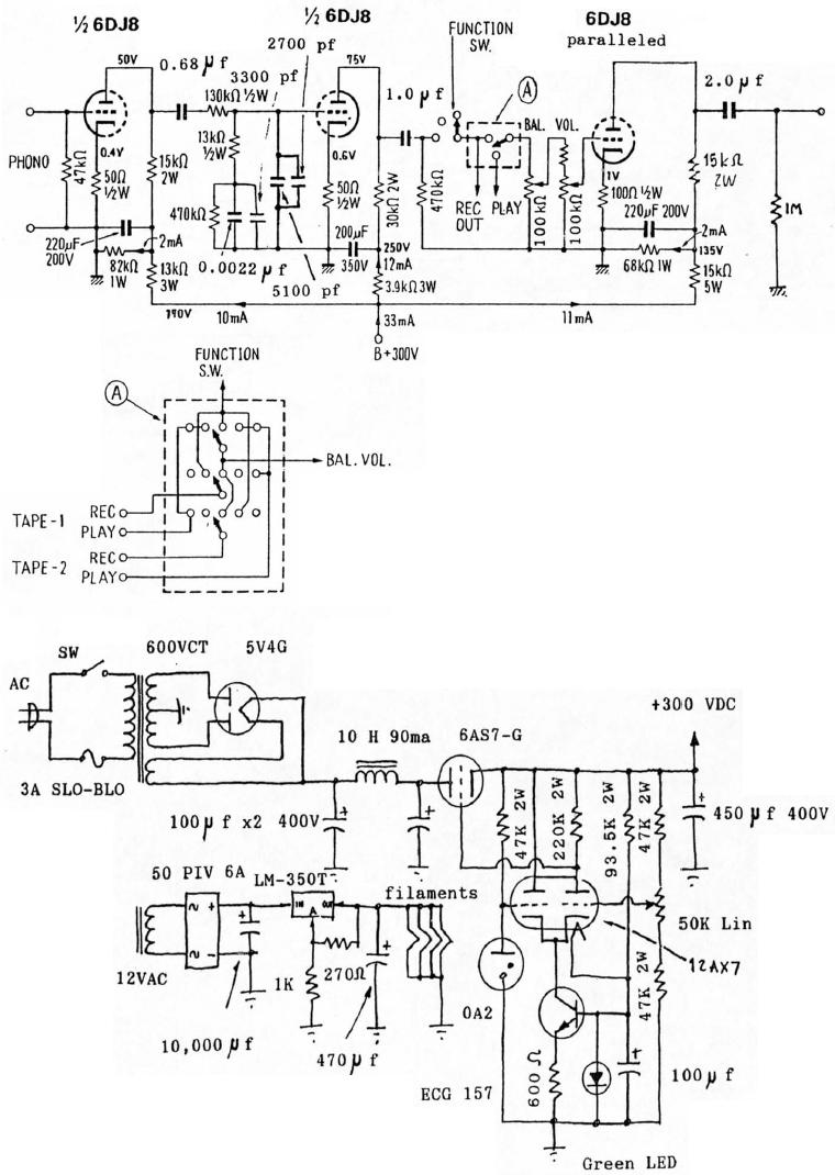 hight resolution of 6dj8 tube phono and line preamplifier schematic