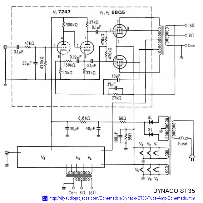 Dynaco Dynakit Stereo 35 (ST35) Tube Amplifier Schematic