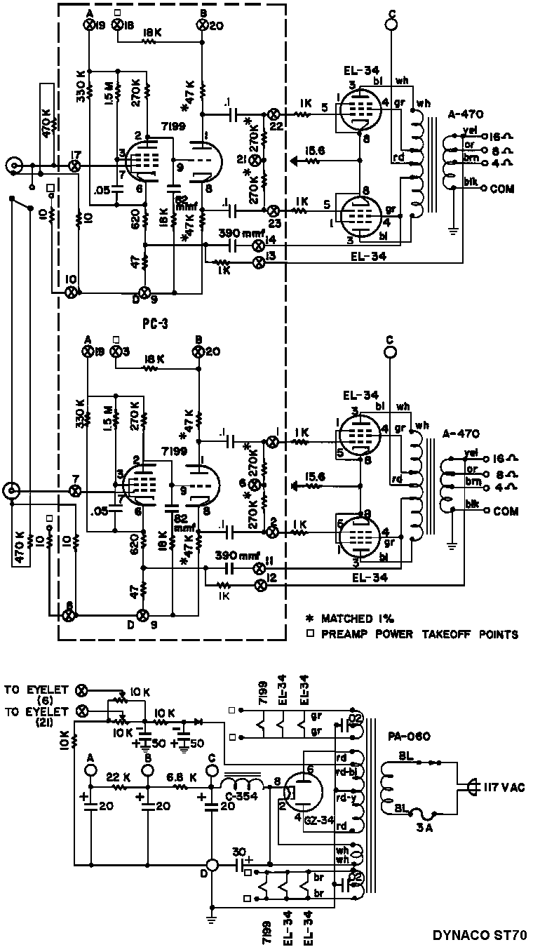 Dynaco Dynakit Stereo 70 (ST70) Tube Amplifier Schematic