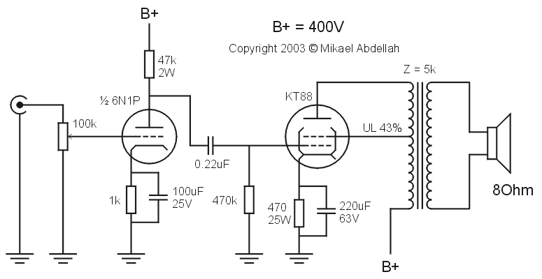 Single-Ended (SE) KT88 Tube Amplifier Schematic (with 6N1P