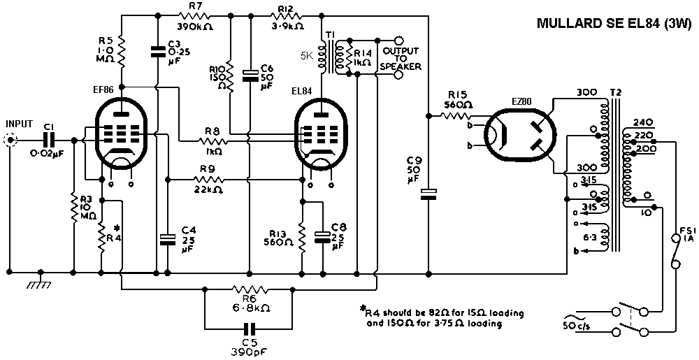 Mullard Single-Ended (SE) EL84 Tube Amplifier Schematic EL-84