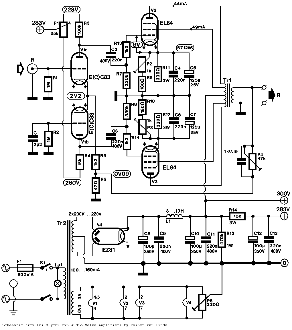 Push-Pull (PP) EL84 Tube Amplifier Schematic (ECC83 input)
