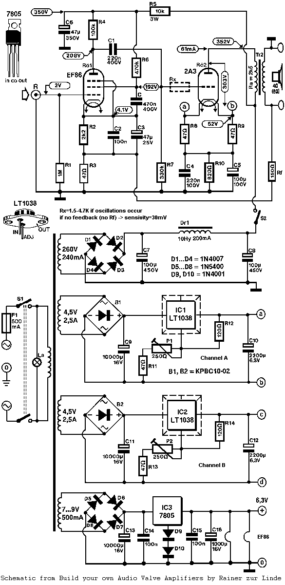 2A3 Single-Ended Triode (SET) Tube Amplifier Schematic