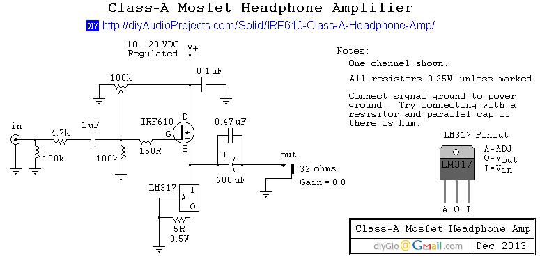 IRF610 Class-A Headphone Amp Schematic