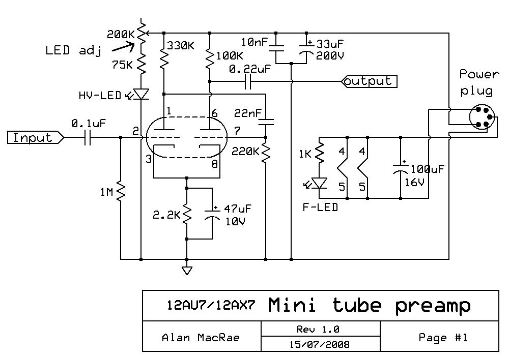 12au7 12ax7 Tube Preamplifier Schematic