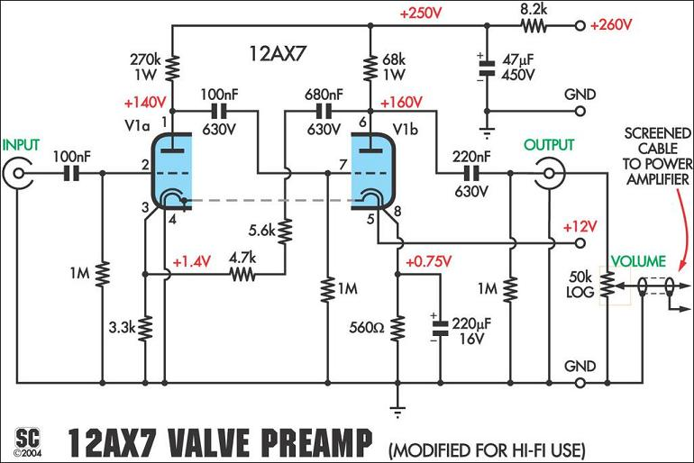 figure 02 power supply schematic for 12ax7 preamplifier