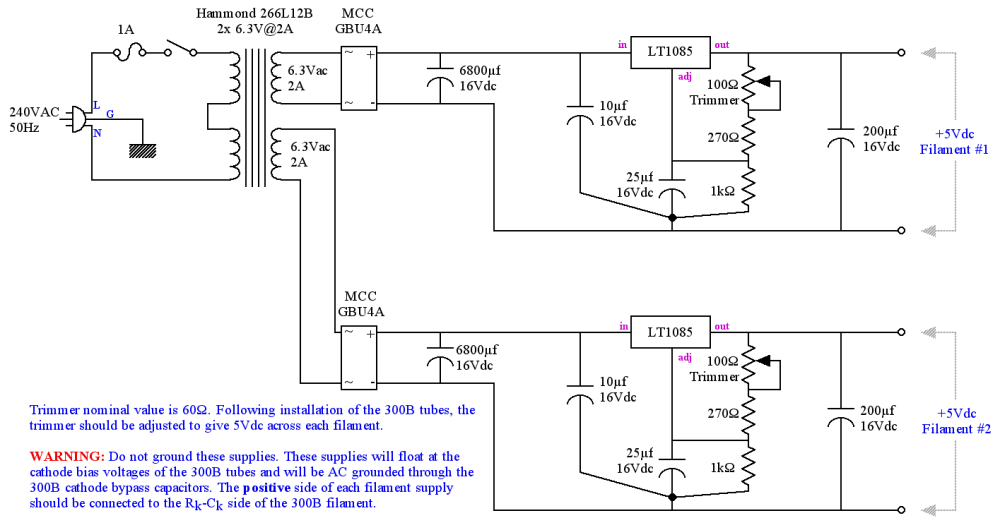 medium resolution of 5v regulated power supply schematic for 300b heater filament