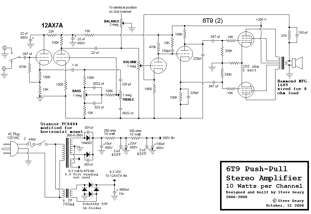 6t9 Compactron Push Pull Tube Amplifier Schematic