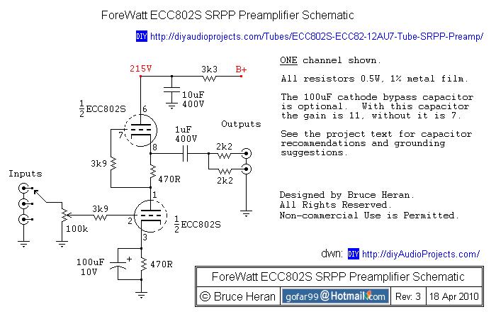 Diy Ecc802s 12au7 Ecc82 Vacuum Tube Srpp Preamplifier