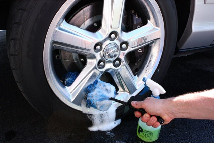 cleaning wheel with stiffer brush