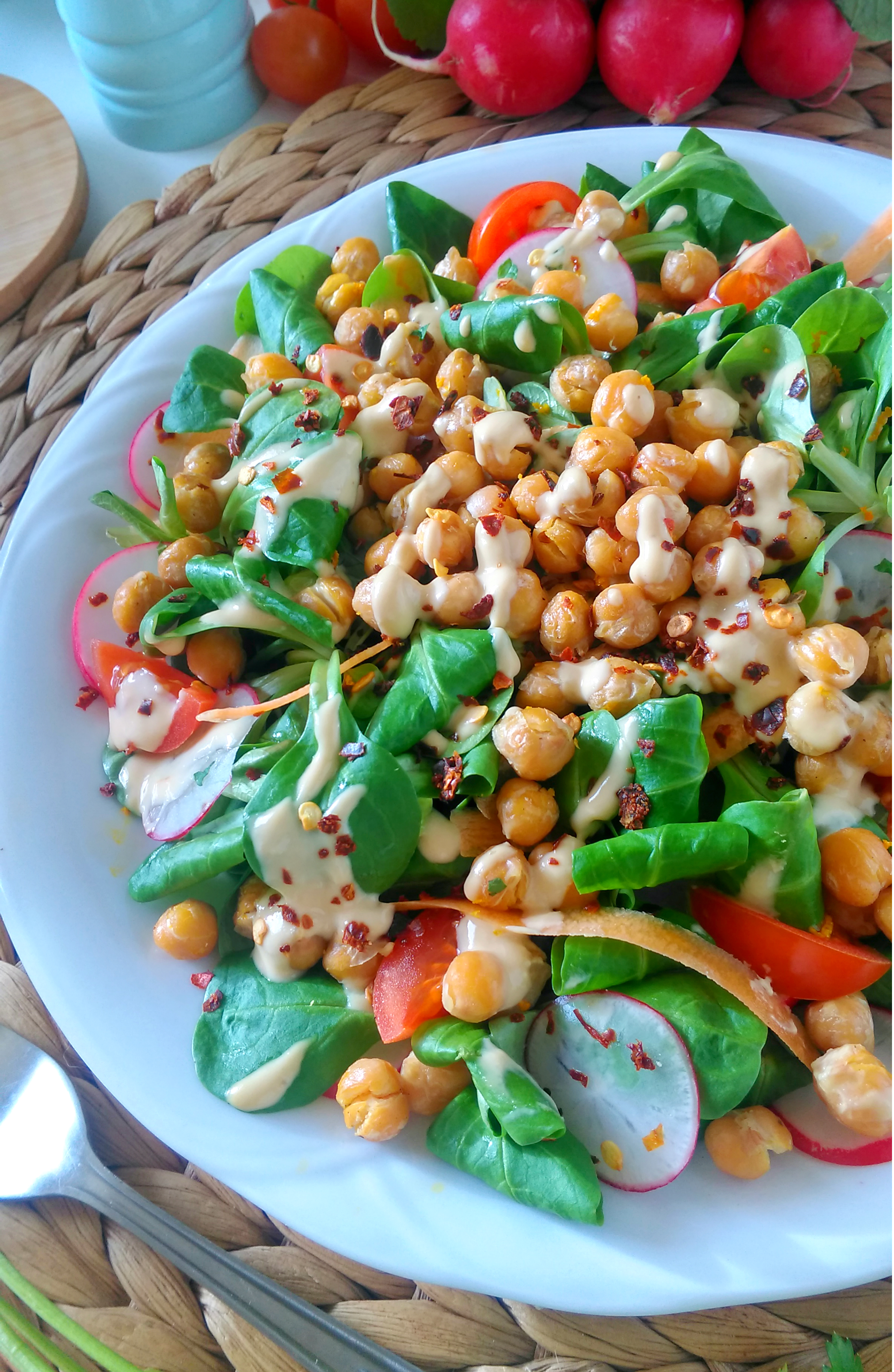 Baby_Spinach_and_Red Radish_Salad_with_Roasted Chickpeas_and_Tahini_Dressing_recipe_DIYBITES