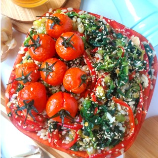 Sauteed spinach and peppers with brown rice and roasted cherry tomatoes_recipe_diybites (1)