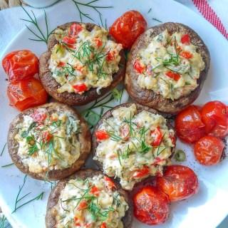 Stuffed mushrooms with cream cheese and mushrooms