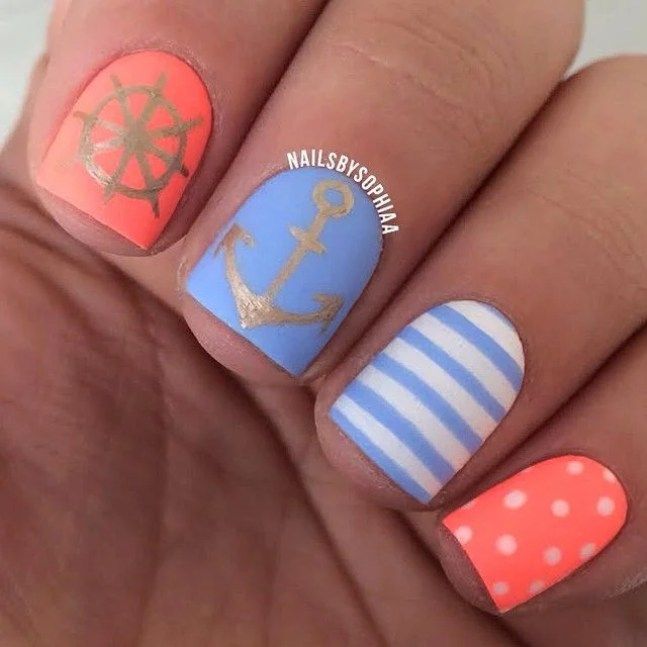 captain anchor ship summer nails - Top 10 Summer Nails DIYs To Show Off To Your Friends