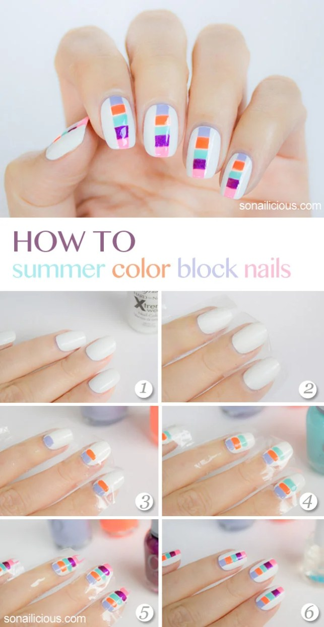 summer block nails art