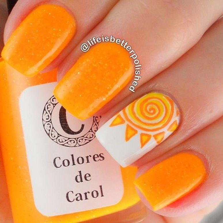 orange sun nail art