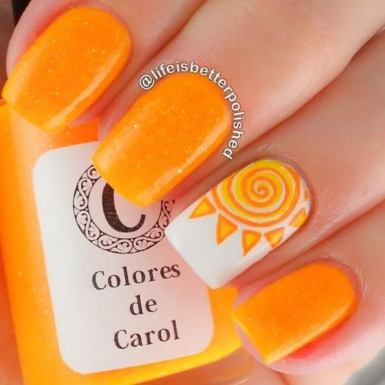 orange sun nail art - Top 10 Summer Nails DIYs To Show Off To Your Friends